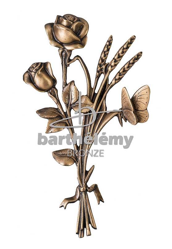 Bronze - GERBE DE ROSES AVEC PAPILLON