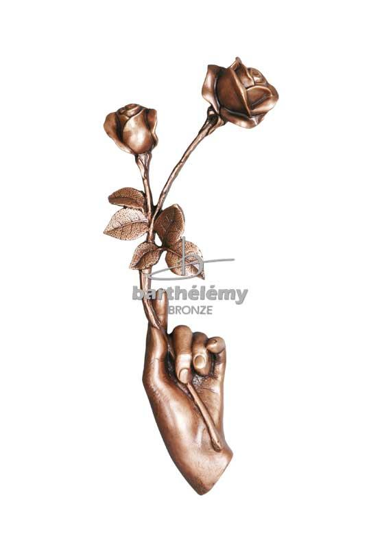 Bronze - MAIN AU DEUX ROSES